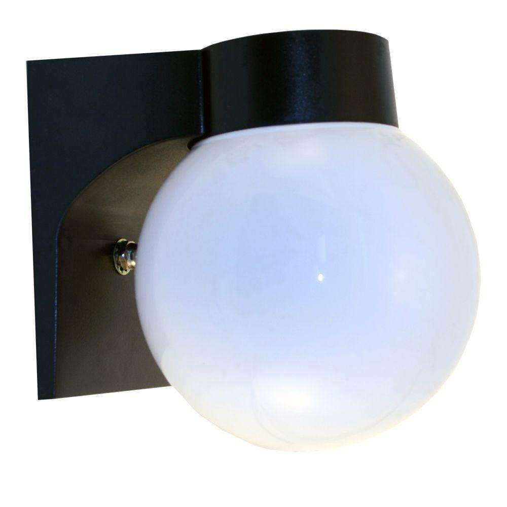 HomeSelects 7 in. Fluorescent Outdoor Acrylic Globe Metal Light with Daylight Sensor-DISCONTINUED