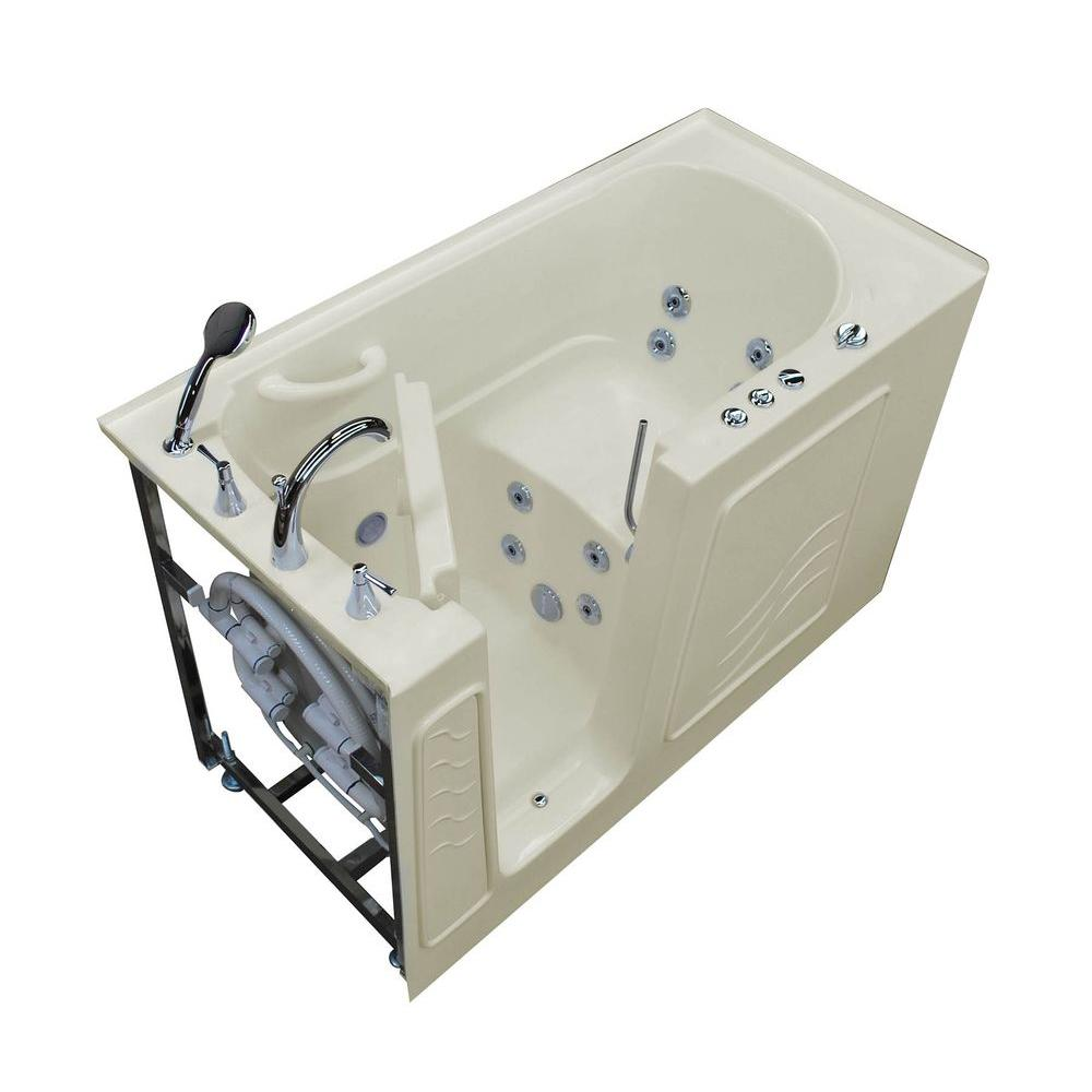 5 ft. Left Drain Walk-In Whirlpool Bath Tub in Biscuit