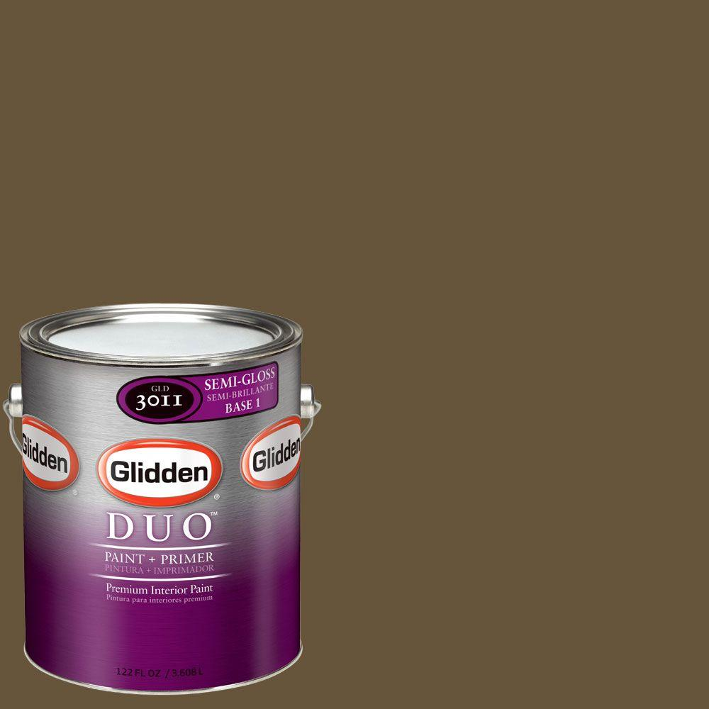 Glidden DUO 1-gal. #GLN26-01S Leather Brown Semi-Gloss Interior Paint with Primer