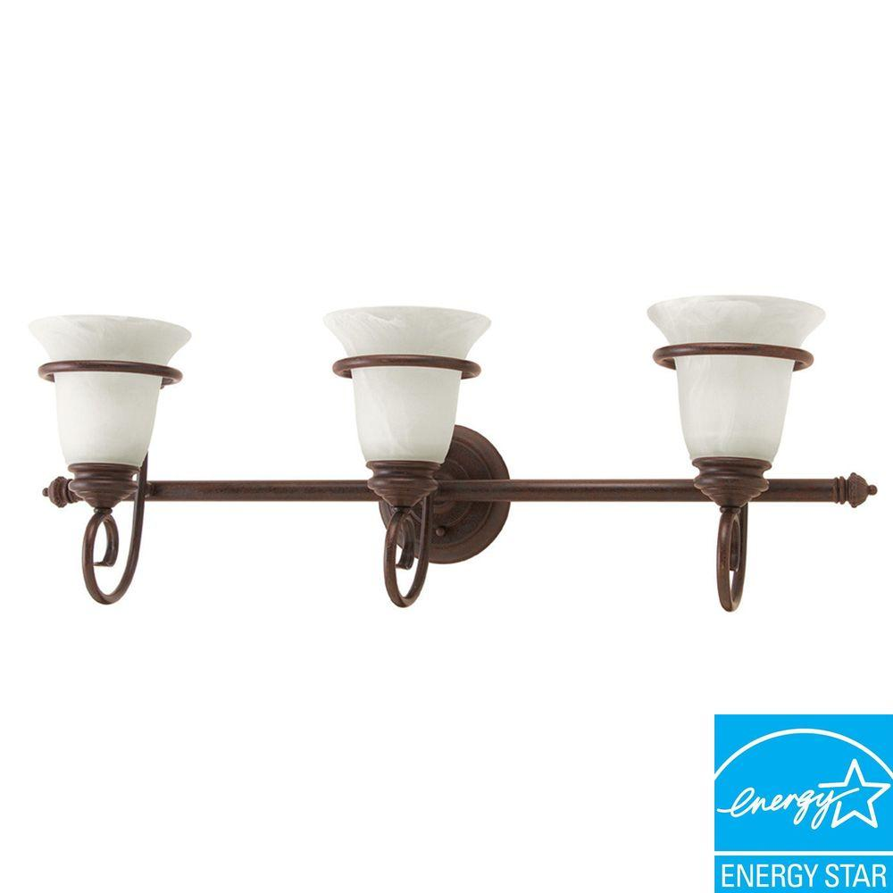American Fluorescent Bennington Collection 3-Light Cold River Rust Sconce