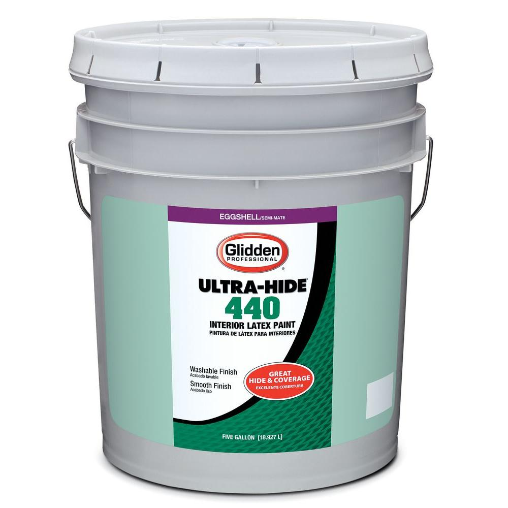 Glidden Professional 5 gal. Ultra-Hide 440 Eggshell White Tint Base Interior Paint