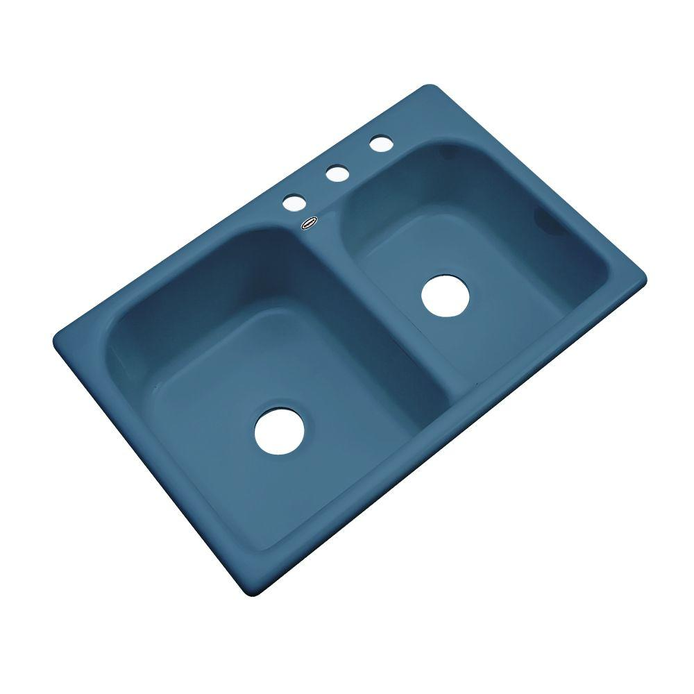 Thermocast Cambridge Drop-In Acrylic 33 in. 3-Hole Double Bowl Kitchen Sink in Rhapsody Blue