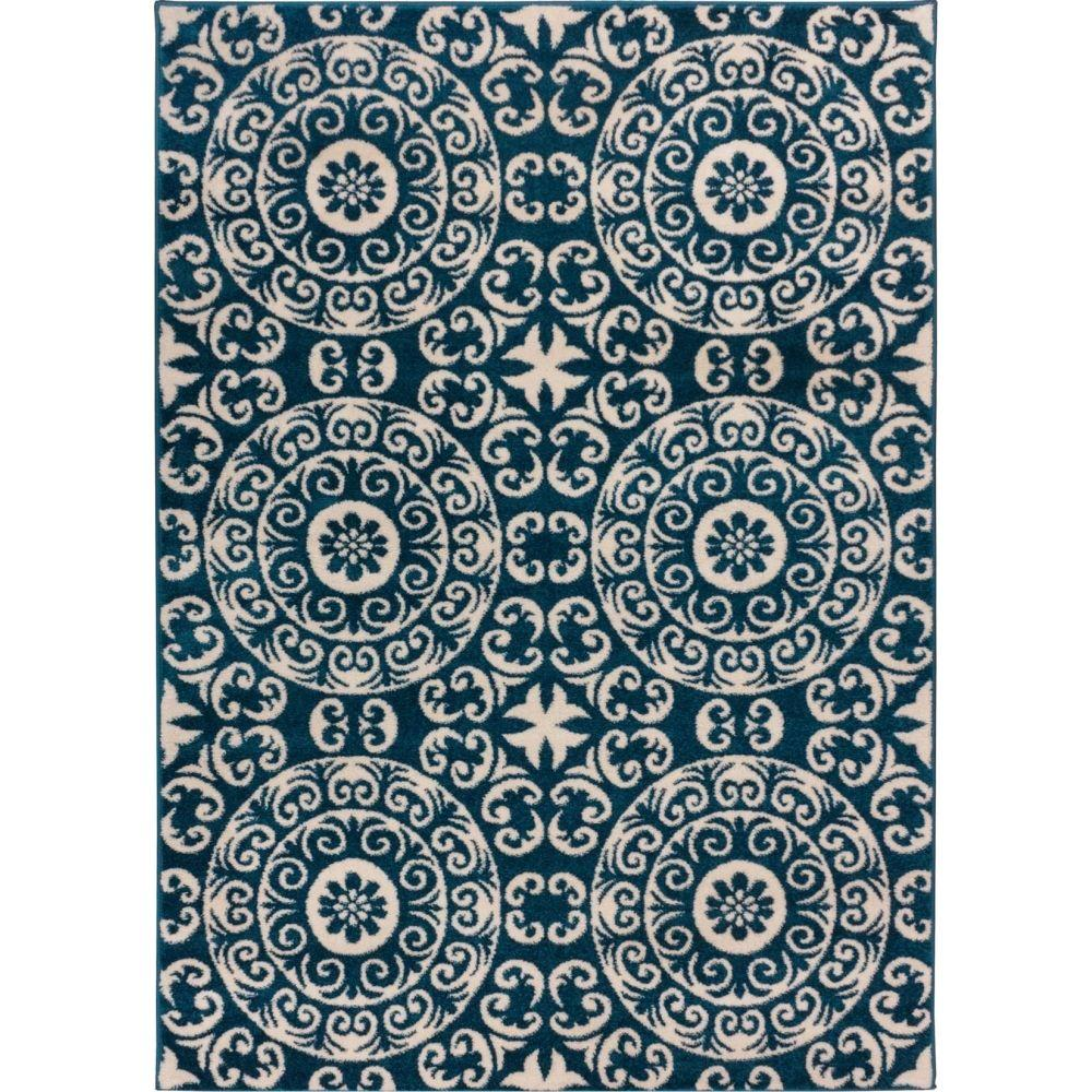 Well Woven Sydney Petra Palatial Navy Blue 7 ft. 10 in. x 10 ft. 6 in. Modern Area Rug