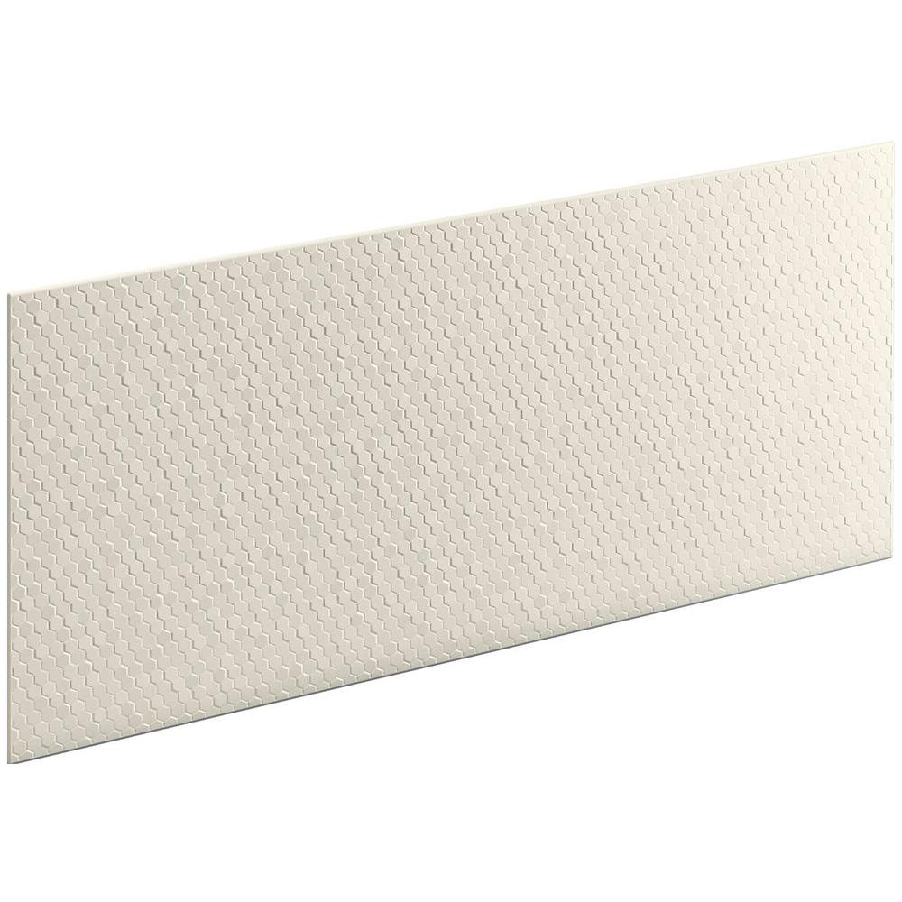 KOHLER Choreograph 0.3125 in. x 60 in. x 28 in. 1-Piece Shower Wall Panel in Biscuit with Hex Texture