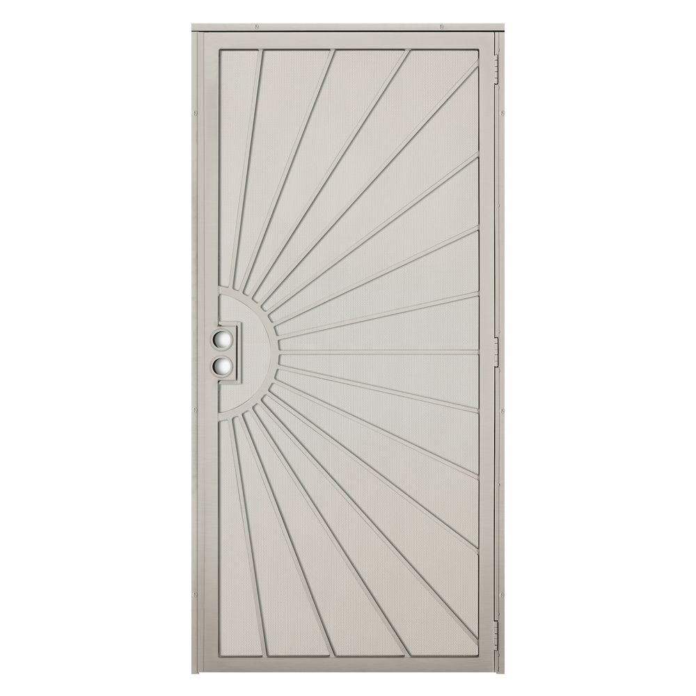 Unique Home Designs 36 in. x 80 in. Solana Tan Surface Mount Outswing Steel Security Door with Perforated Metal Screen
