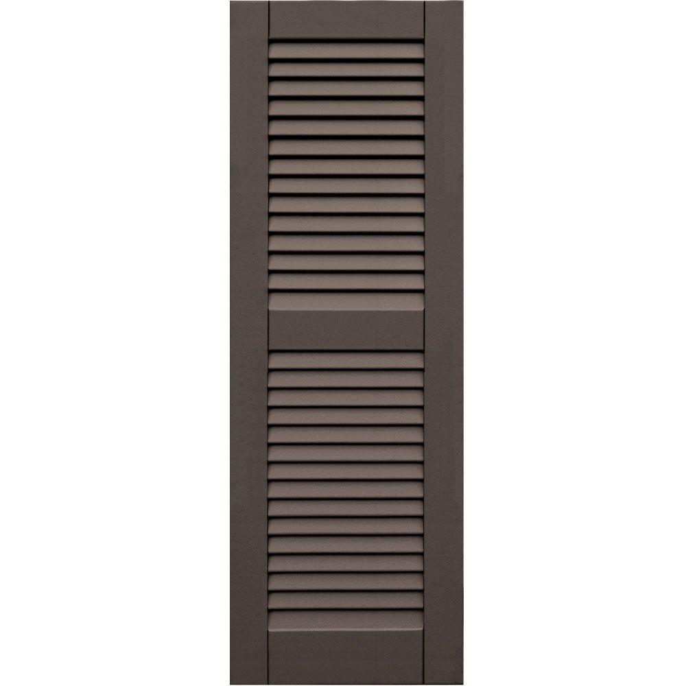 Winworks Wood Composite 15 in. x 44 in. Louvered Shutters Pair #641 Walnut