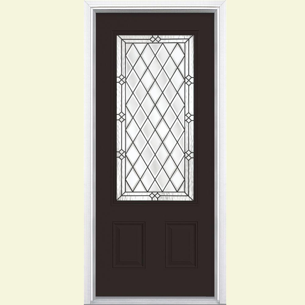 Masonite 36 in. x 80 in. Halifax 3/4 Rectangle Painted Steel Prehung Front Door with Brickmold