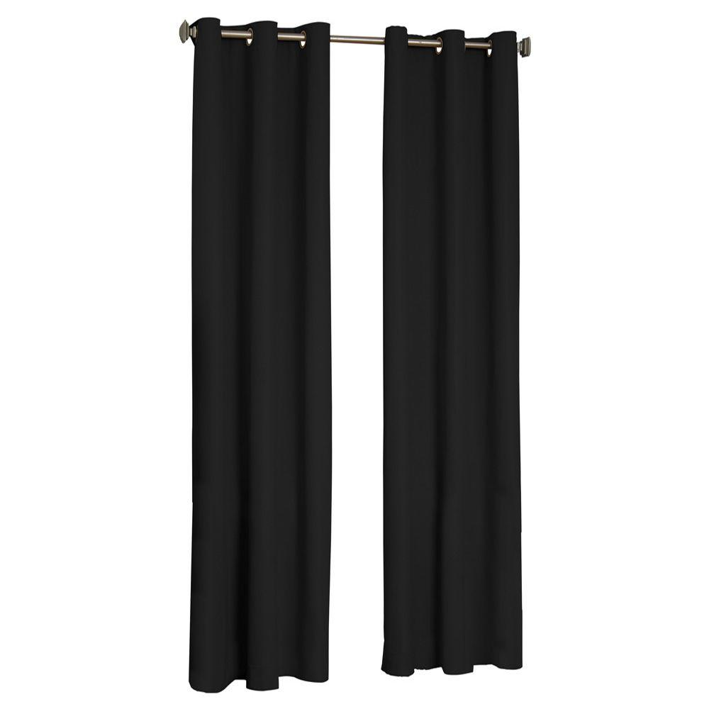 Eclipse Microfiber Blackout Black Grommet Curtain Panel, 63 in. Length