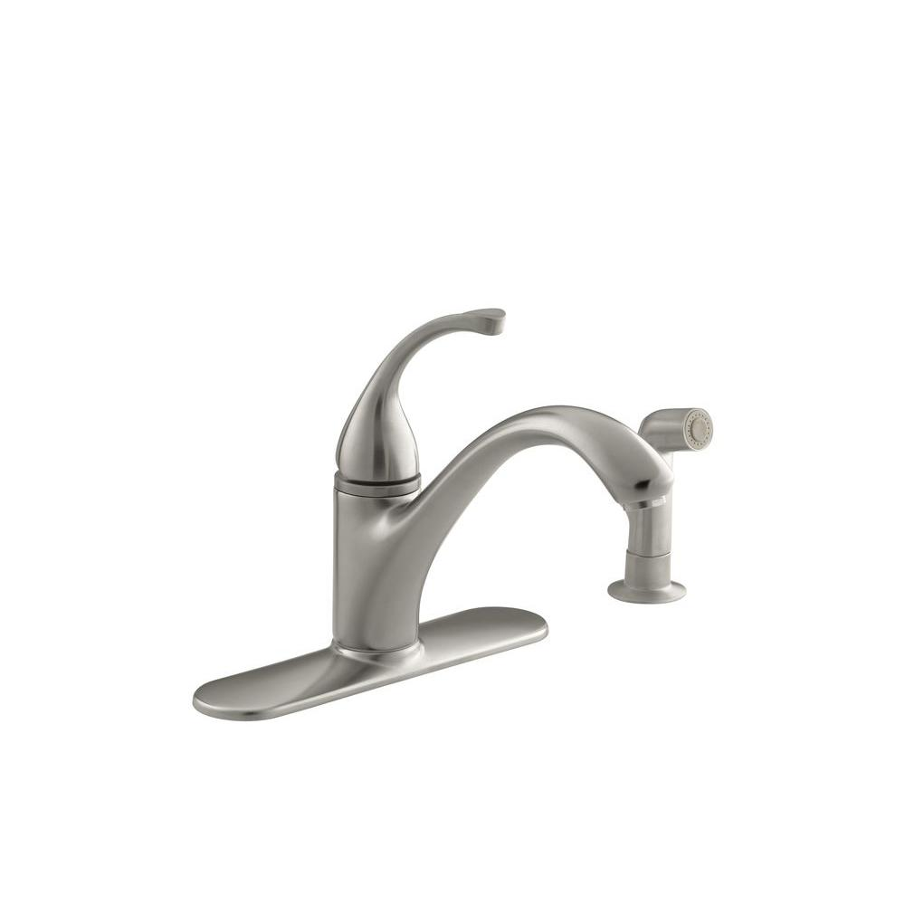 KOHLER Forte Standard Kitchen Sink Faucet with 9-1/16 in. Spout and Side Spray in Vibrant Brushed Nickel
