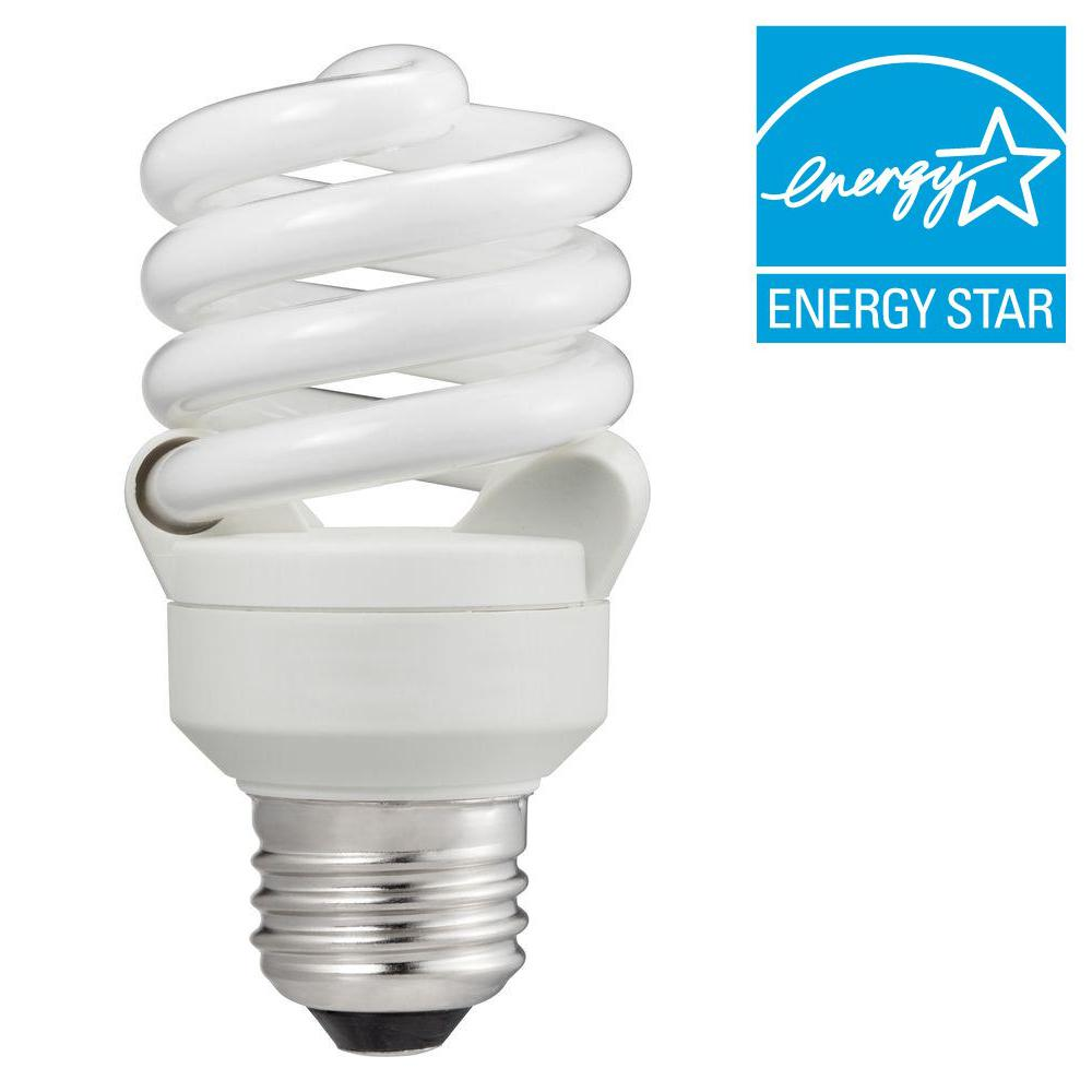 60W Equivalent Cool White (4100K) T2 A-Line Spiral CFL Light Bulb