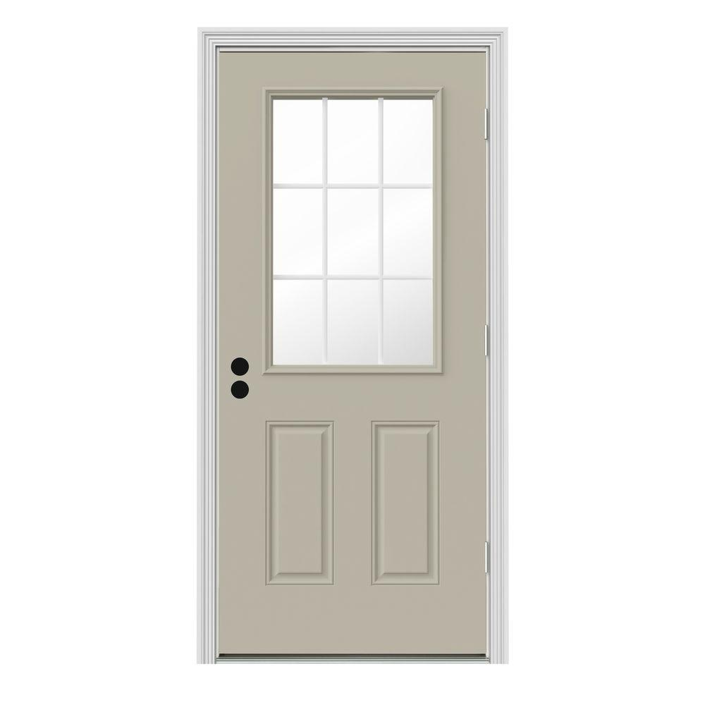 36 In X 80 In 9 Lite Primed Premium Steel Prehung Front Door With Brickmould A07346 The Home