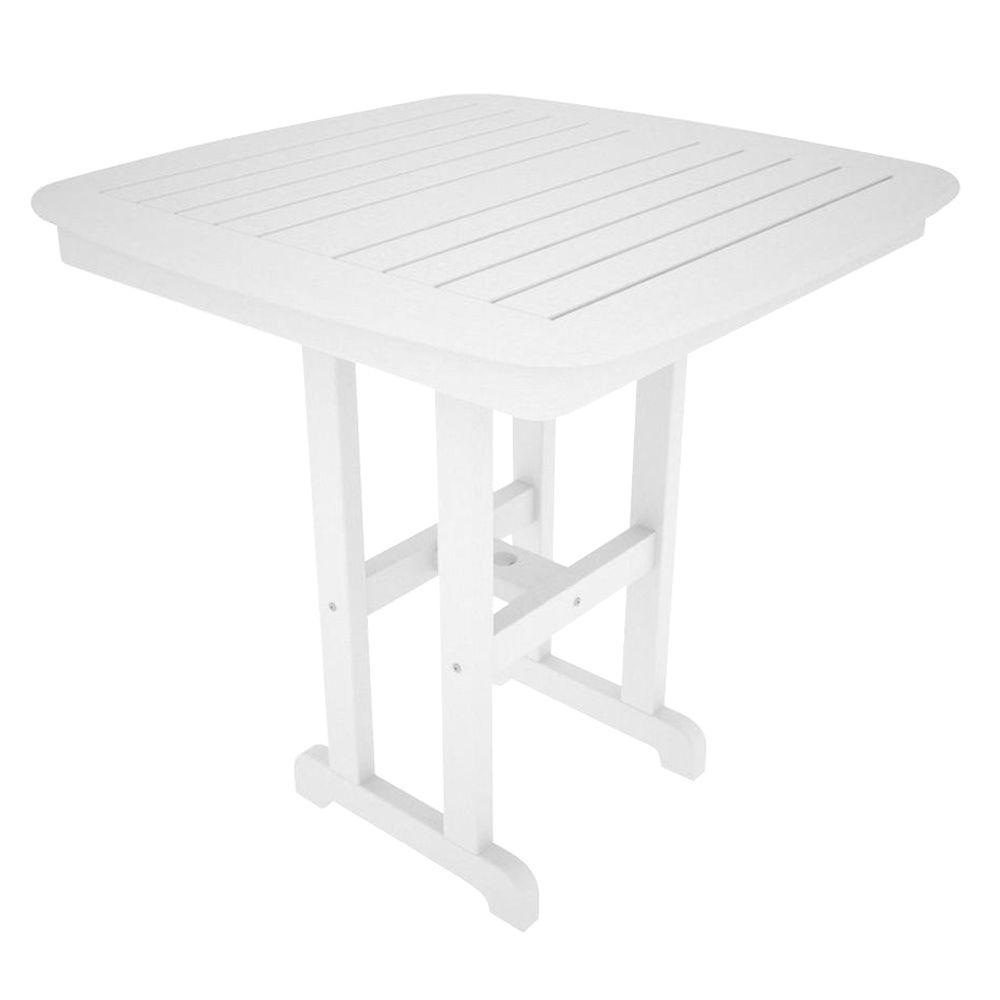 Nautical 37 in. White Patio Counter Table