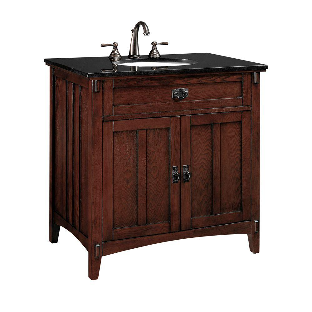 Home Decorators Collection Artisan 33 in. W x 20.5 in. D Vanity in Macintosh Oak with Granite Vanity Top in Black