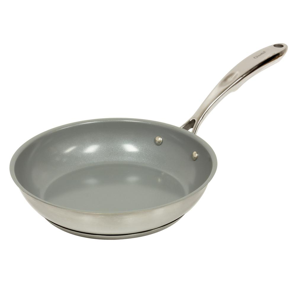 Induction 21 Steel 10 In. Ceramic Non Stick Fry Pan In Stainless Steel, Brushed Stainless Steel Body With Polished Rim