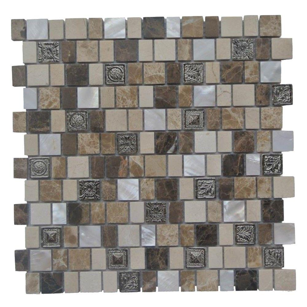 Splashback Tile Charm II Cappuccino Glass and Stone Floor and Wall Tile - 3 in. x 6 in. Tile Sample, Cappino Glastone