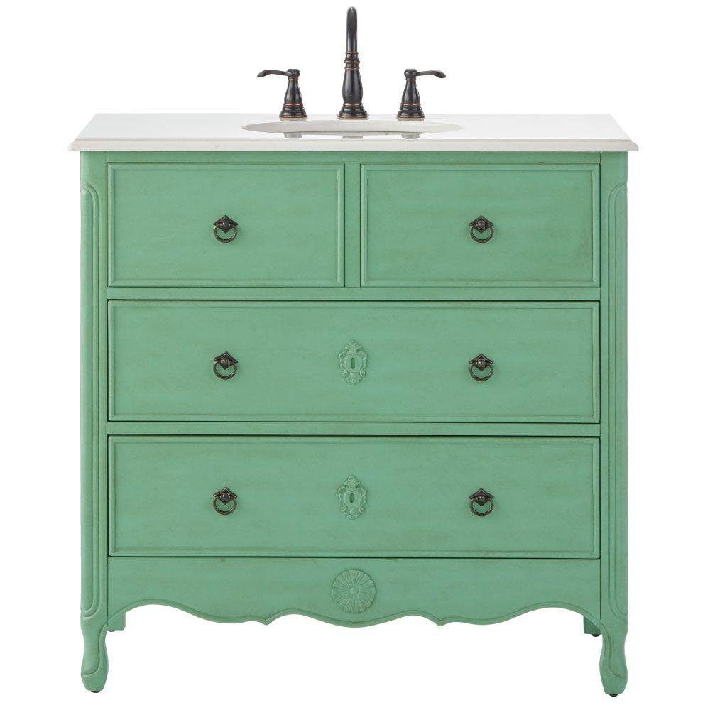 Home decorators collection keys 36 in w vanity in distressed aquamarine with marble vanity top Home decorators collection 36 vanity
