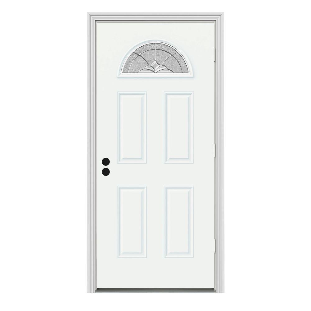 JELD-WEN 36 in. x 80 in. Fan Lite Langford White Painted Steel Prehung Left-Hand Outswing Front Door w/Brickmould