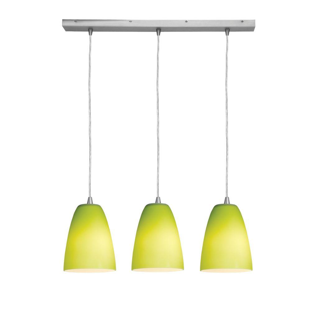 Access Lighting 3-Light Pendant Brushed Steel Finish -Light Green Glass-DISCONTINUED
