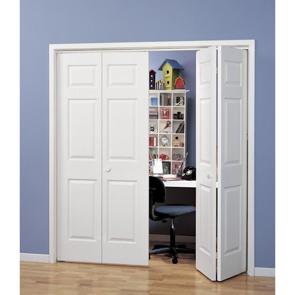 Jeld Wen  In X  In Woodgrain  Panel Hollow Core Molded Interior Closet Bi Fold Door Thdjw The Home Depot
