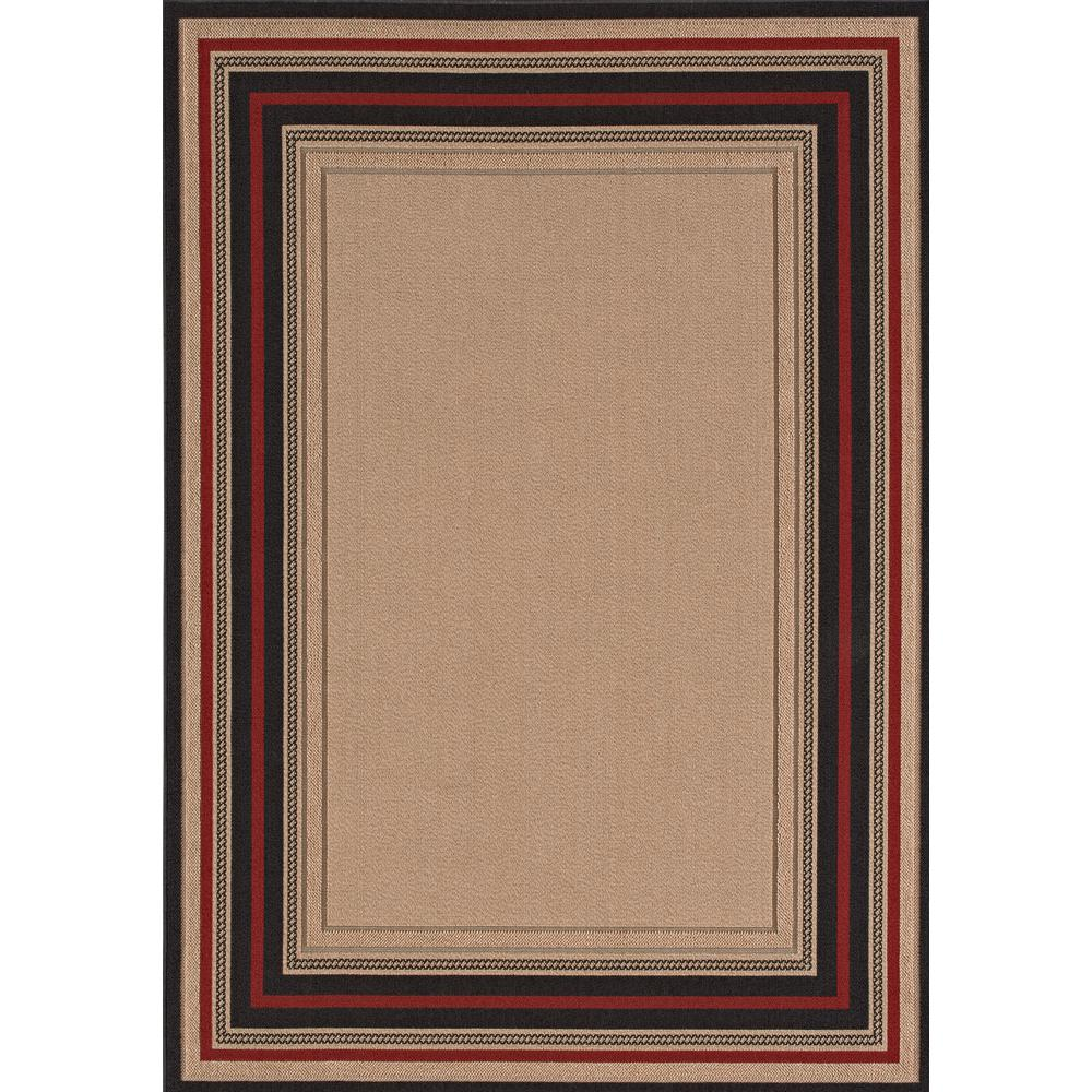 Hampton Bay Loop Border Chili Red and Brown 8 ft. x 10 ft. Indoor/Outdoor Area Rug ...