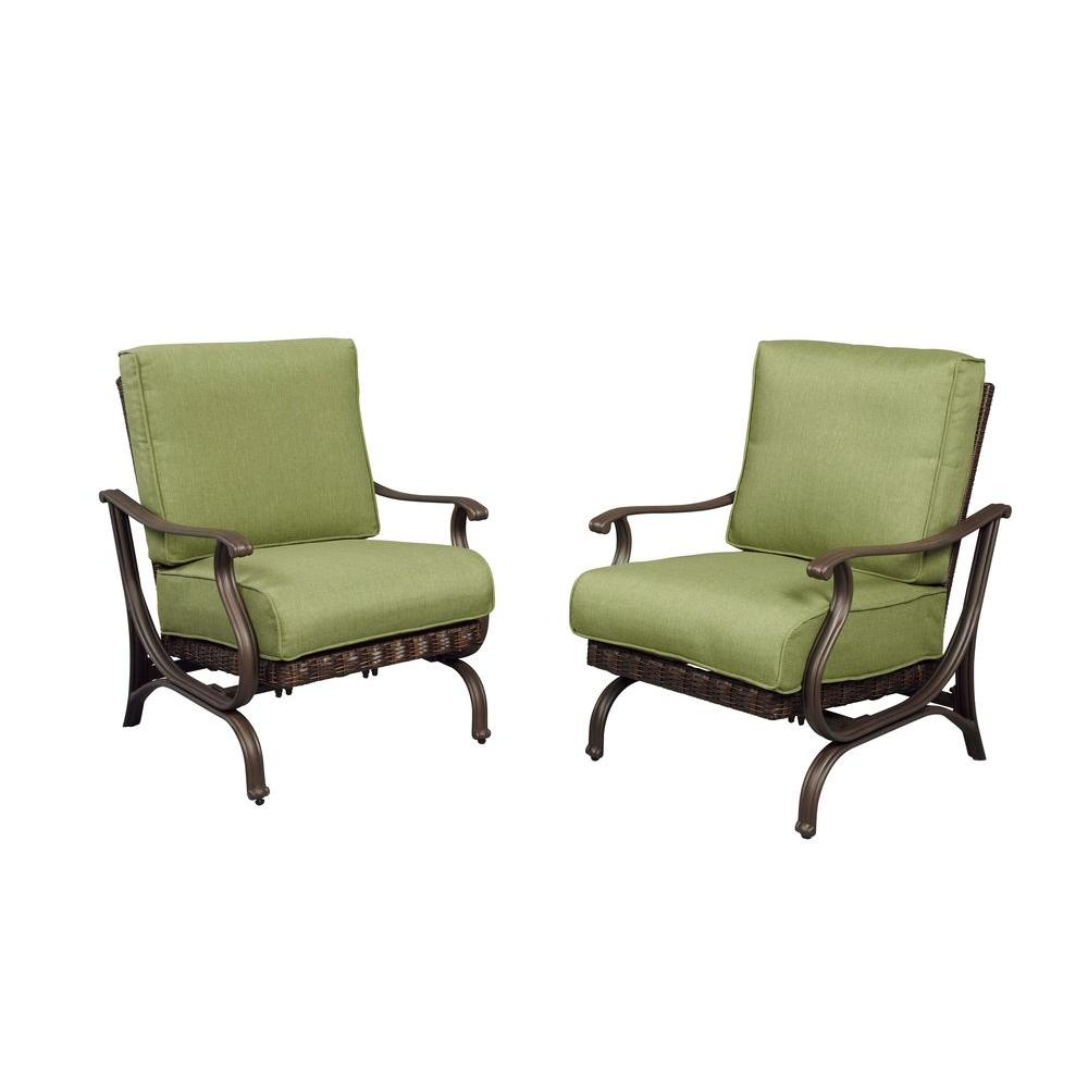 Hampton Bay Pembrey Patio Lounge Chairs with Moss Cushions (2-Pack)