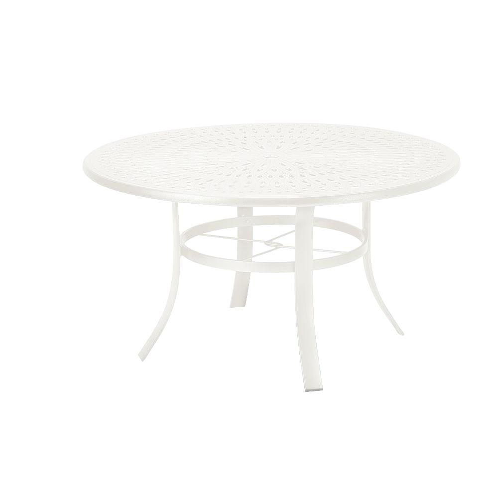 Tradewinds 42 in. White Cast Aluminum Commercial Patio Dining Table