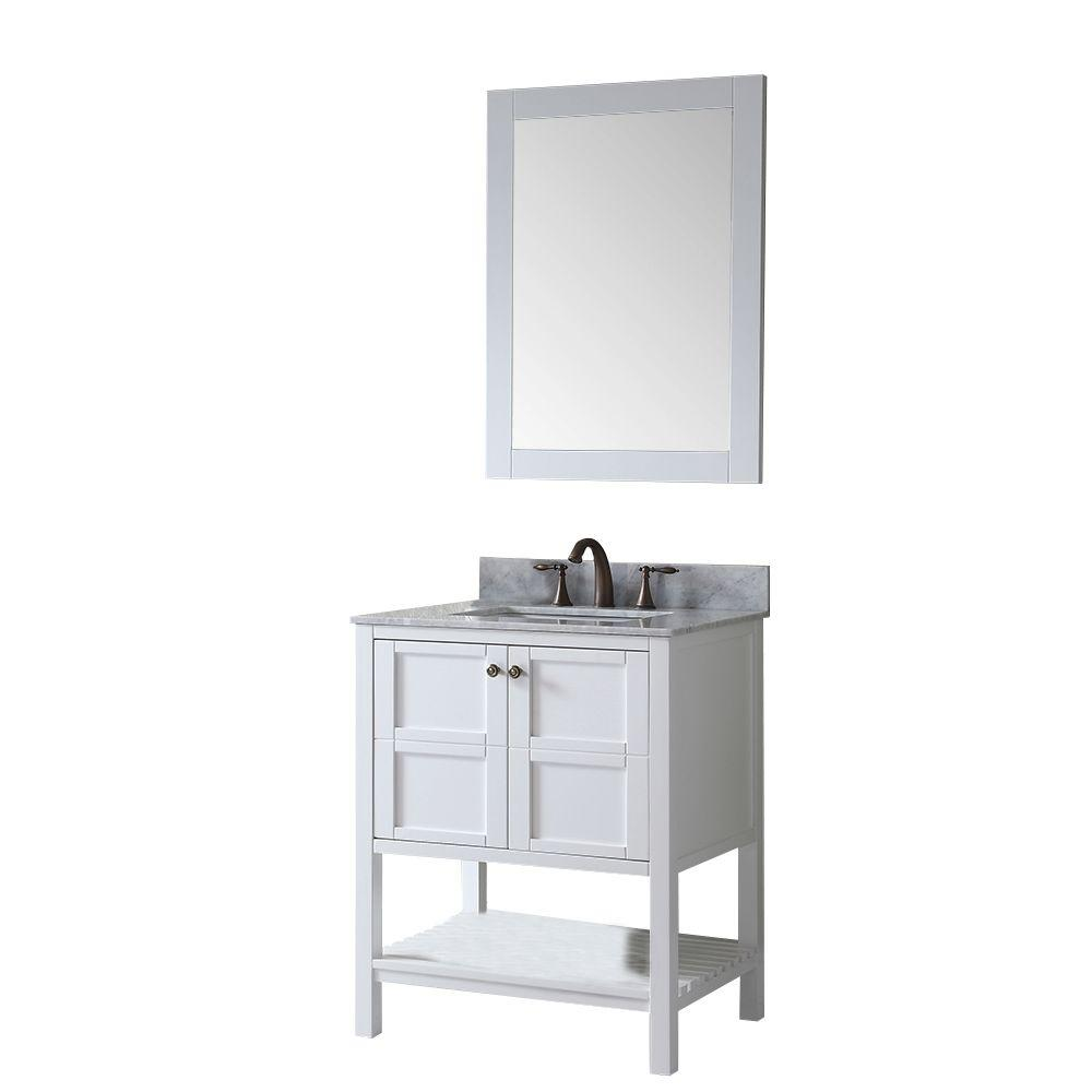 Virtu USA Winterfell 30 in. Vanity in Antique White with Marble Vanity Top in Italian Carrara White and Mirror