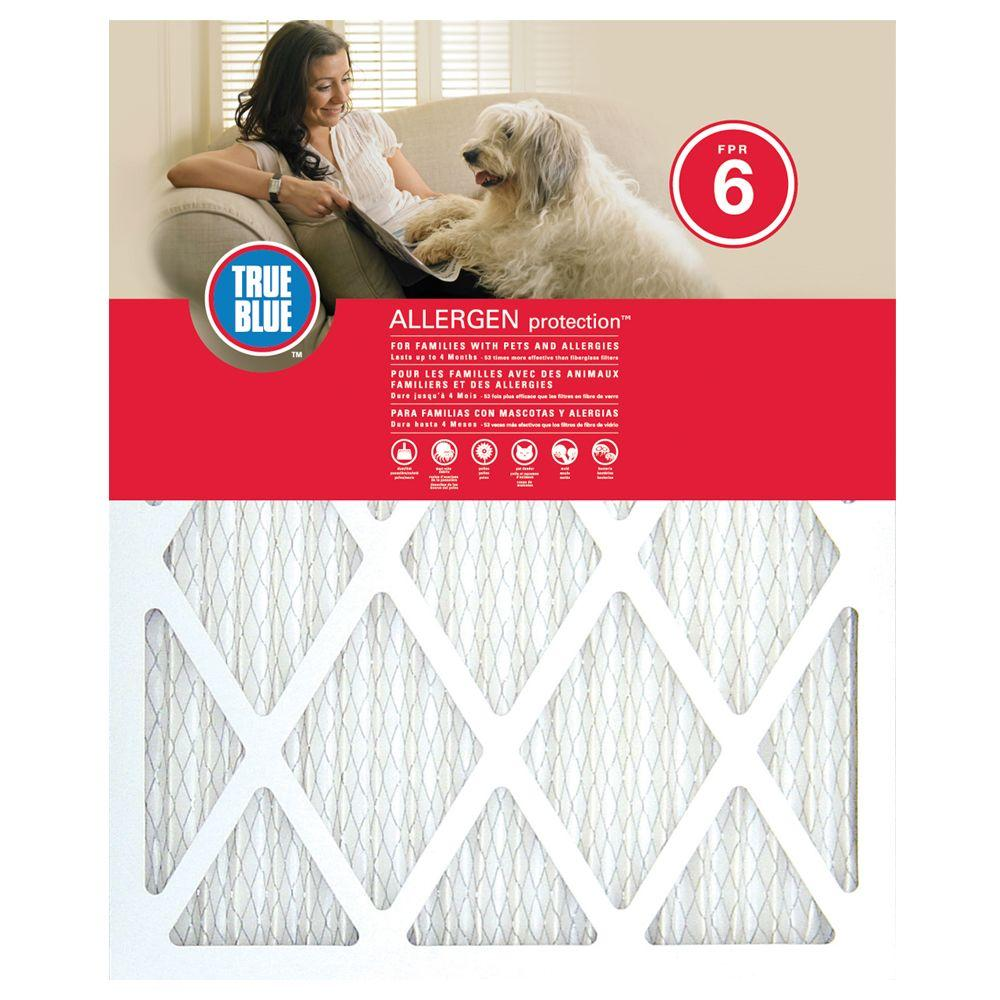 True Blue 12 in. x 25 in. x 1 in. Allergen and Pet Protection FPR 6 Air Filter (4-Pack)
