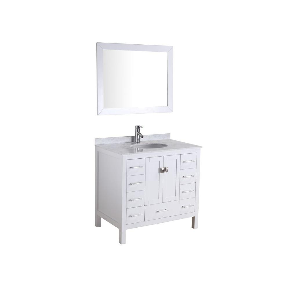 Virtu USA 34-5/8 in. Single Basin Vanity in White with Marble Vanity Top in Italian Carrara White and Framed Mirror-DISCONTINUED
