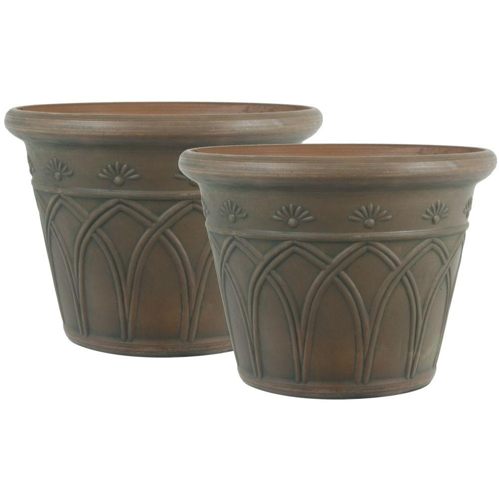 Pride Garden Products 12 in. Round Brown Arch Plastic Planter (2-Pack)