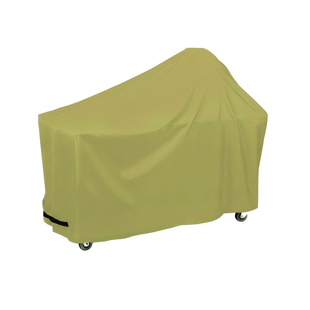 Two Dogs Designs 62 in. Round Grill/Smoker with Side Table Cover in Khaki