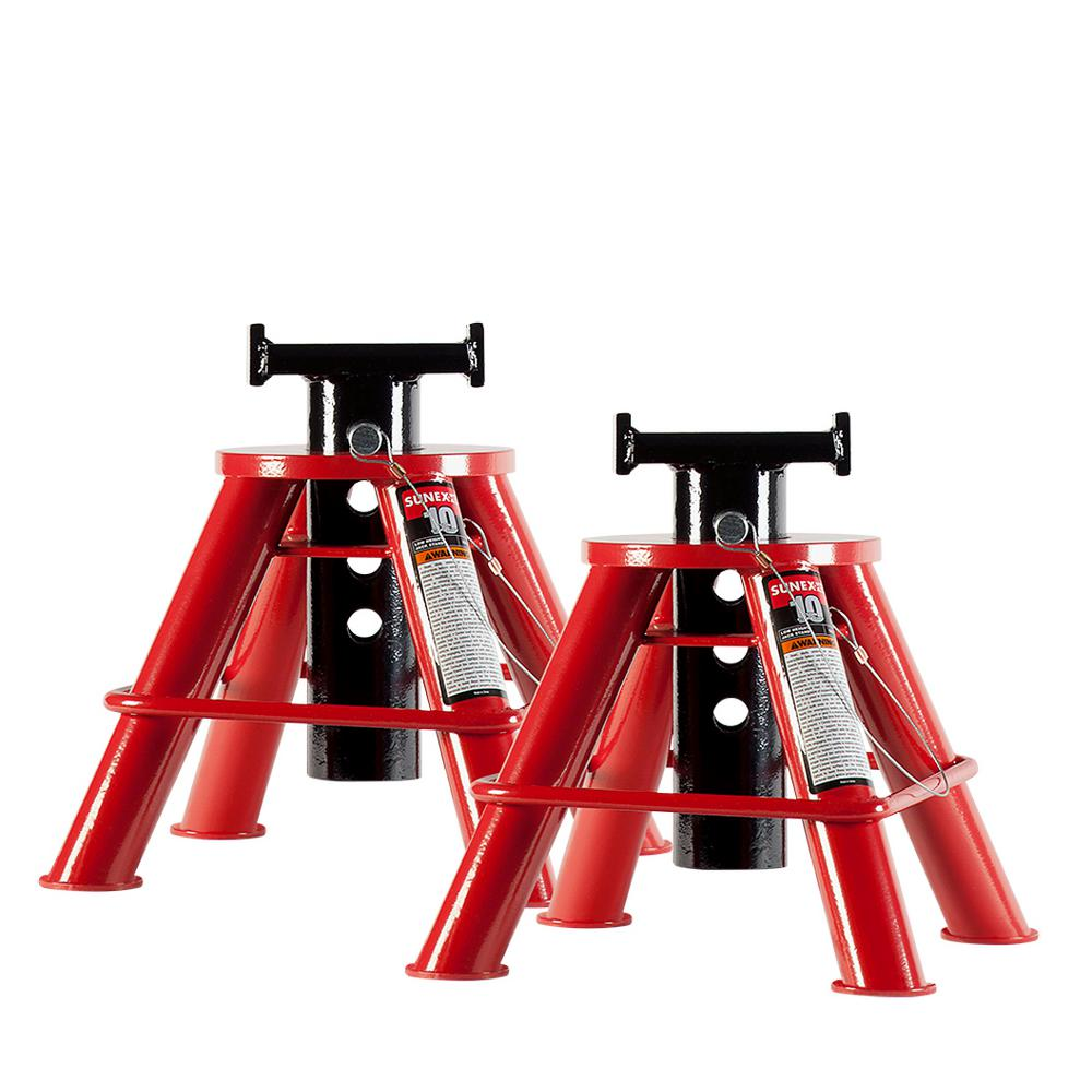 10-Ton Low Height Pin Type Jack Stands (Pair)