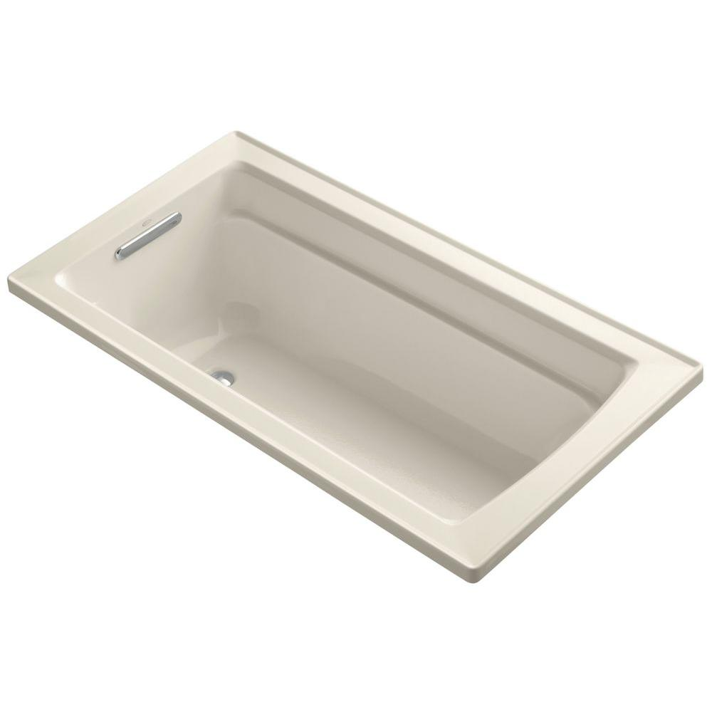 Archer VibrAcoustic 5 ft. Reversible Drain Soaking Tub in Almond