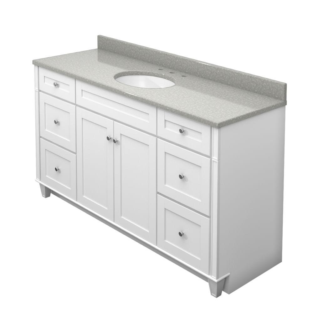 KraftMaid 60 in. Vanity in Dove White with Natural Quartz Vanity Top in Painted Turtle and White Sink