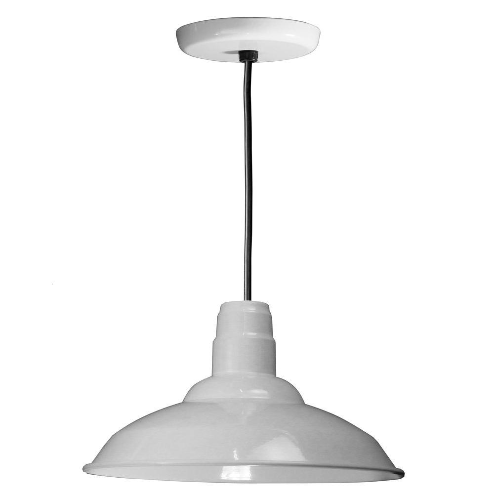 1-Light Ceiling White Pendant