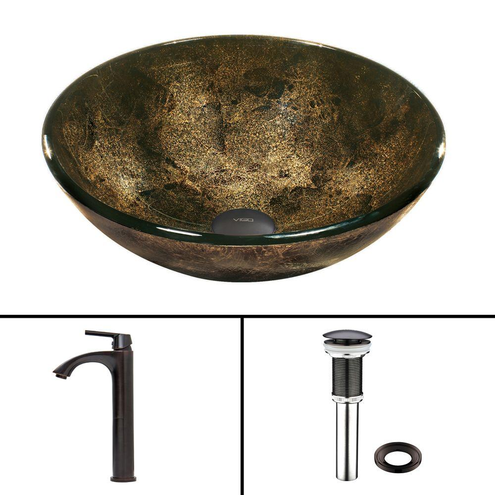 VIGO Glass Vessel Sink in Sintra and Linus Faucet Set in Antique Rubbed Bronze