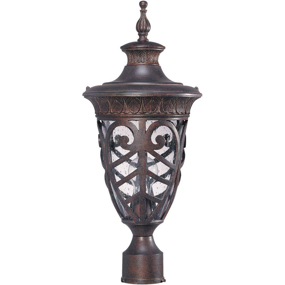 Glomar 1-Light Outdoor Dark Plum BronzeMid-Size Post Lantern with Seeded