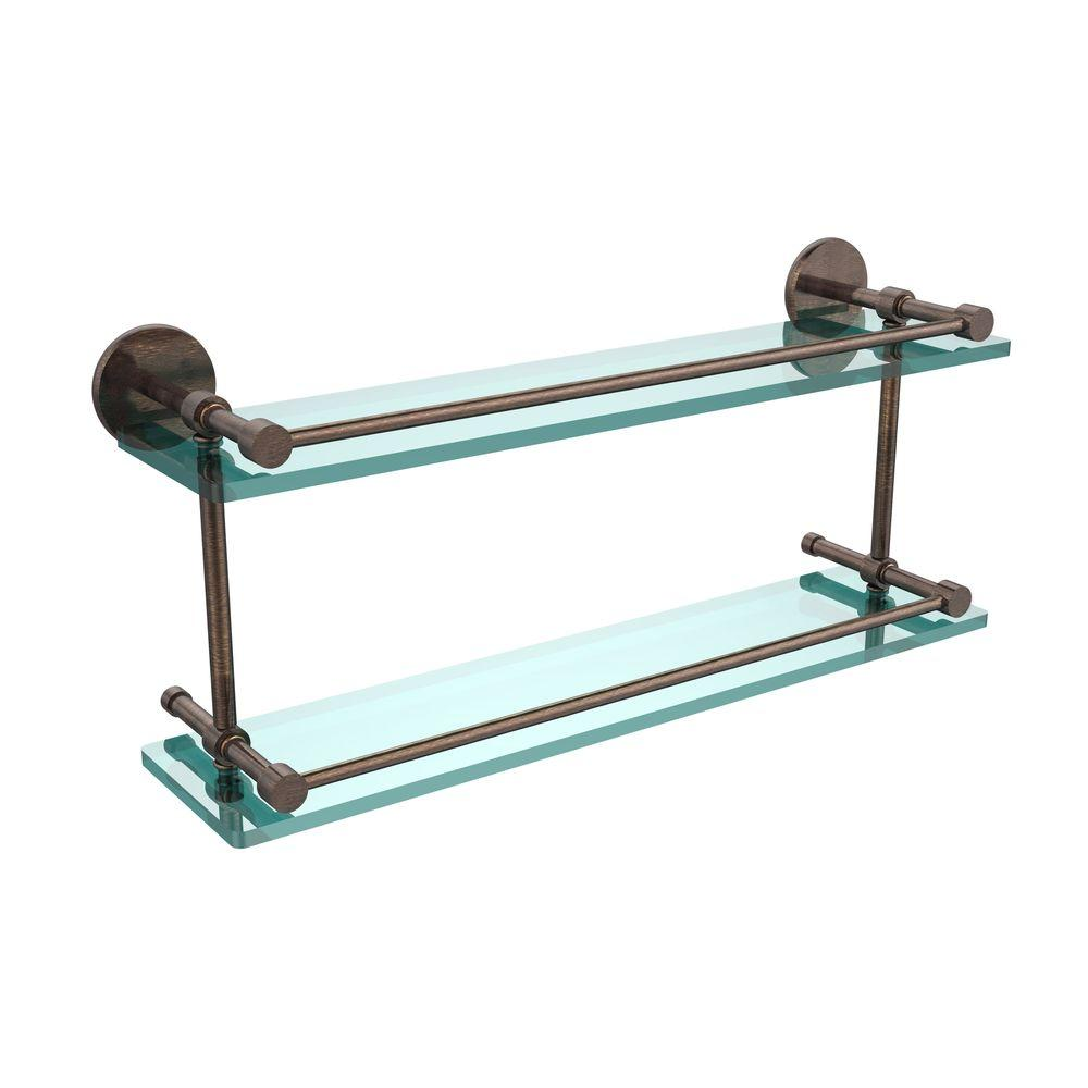 Allied Brass 22 in. W Tempered Double Glass Shelf with Gallery Rail in Venetian Bronze