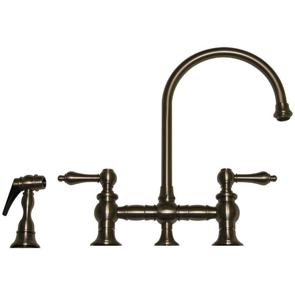 Whitehaus Collection Vintage III 2-Handle Standard Kitchen Faucet with Side Sprayer in Brushed Nickel