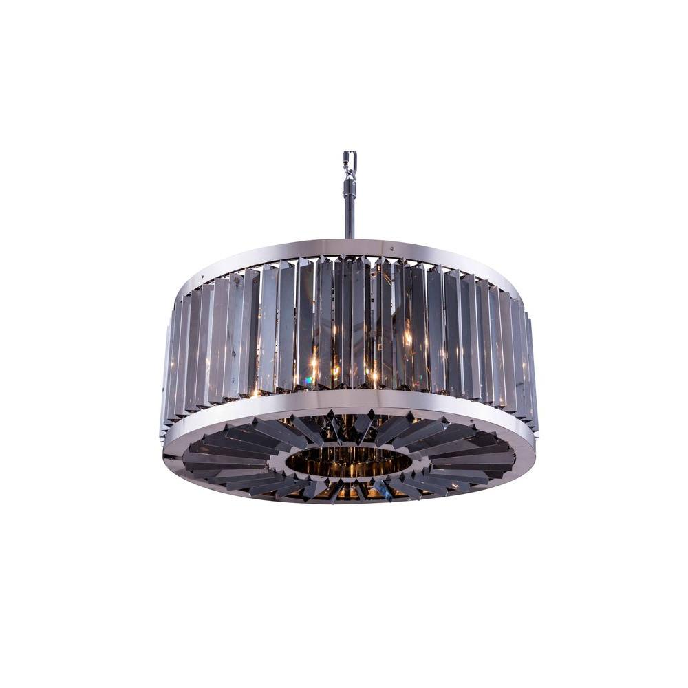 Chelsea 8-Light Polished Nickel Chandelier with Silver Shade Grey Crystal