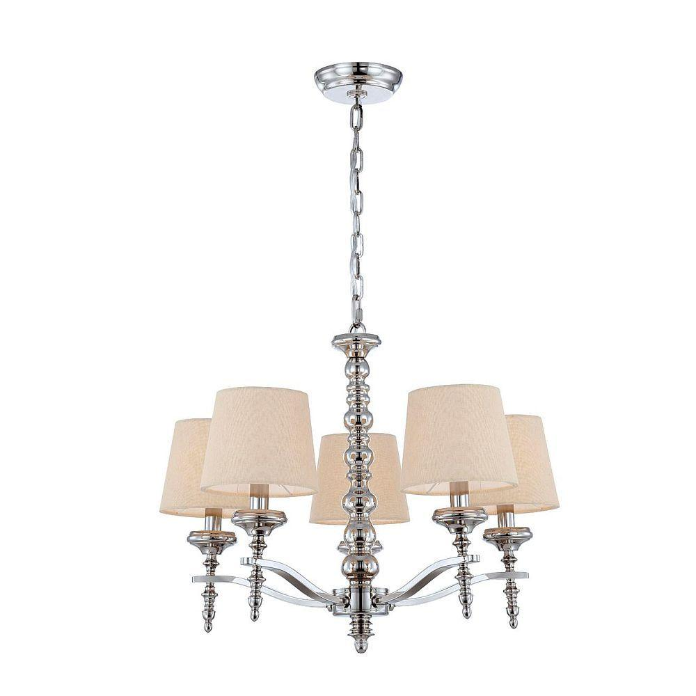 World Imports Jana Collection 5-Light Polished Nickel Chandelier