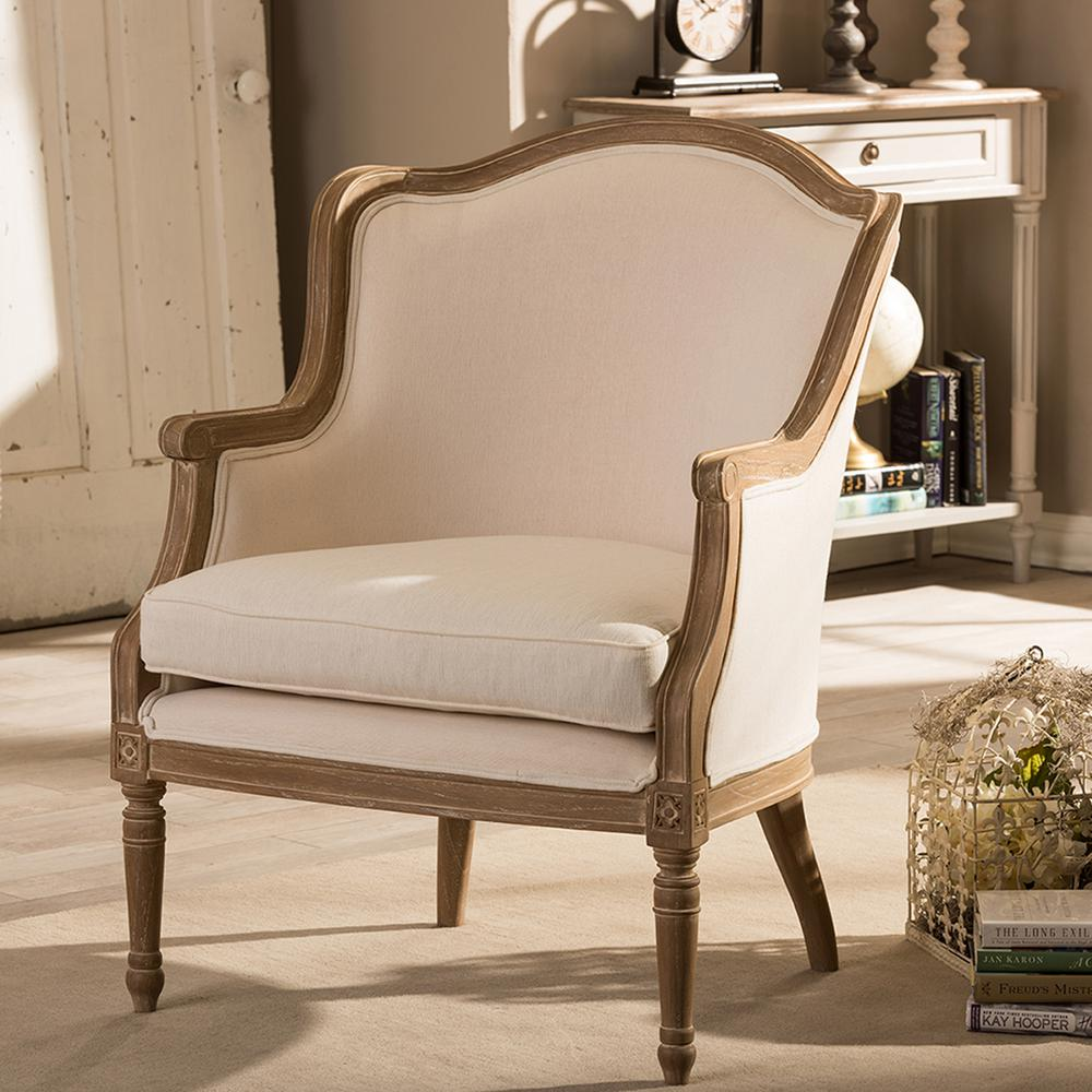 Charlemagne Traditional Beige and Dark Brown Fabric Upholstered Accent Chair