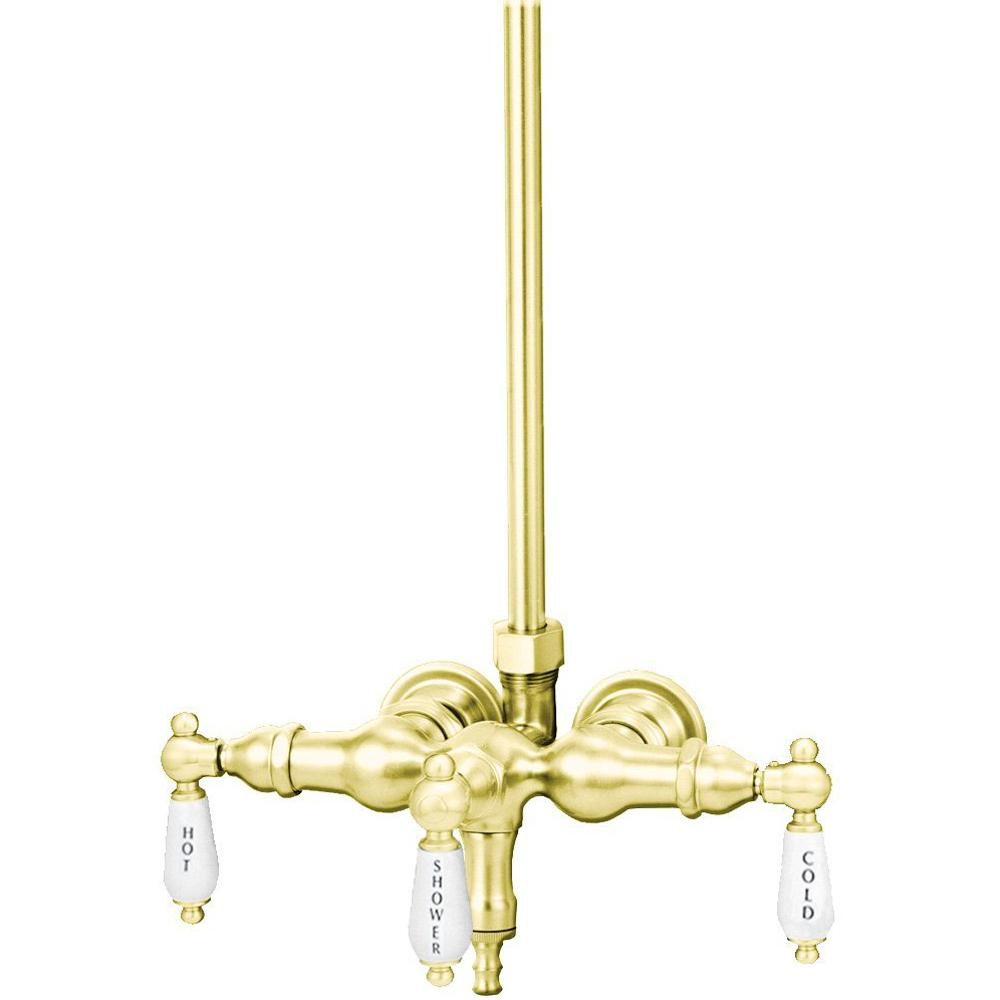 TW13 3-Handle Claw Foot Tub Faucet without Handshower in Polished Brass