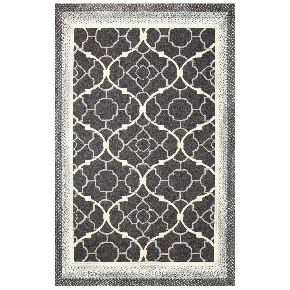 Kas Rugs Outdoor Filigree Charcoal 7 ft. 6 in. x 9 ft. 6 in. Area Rug