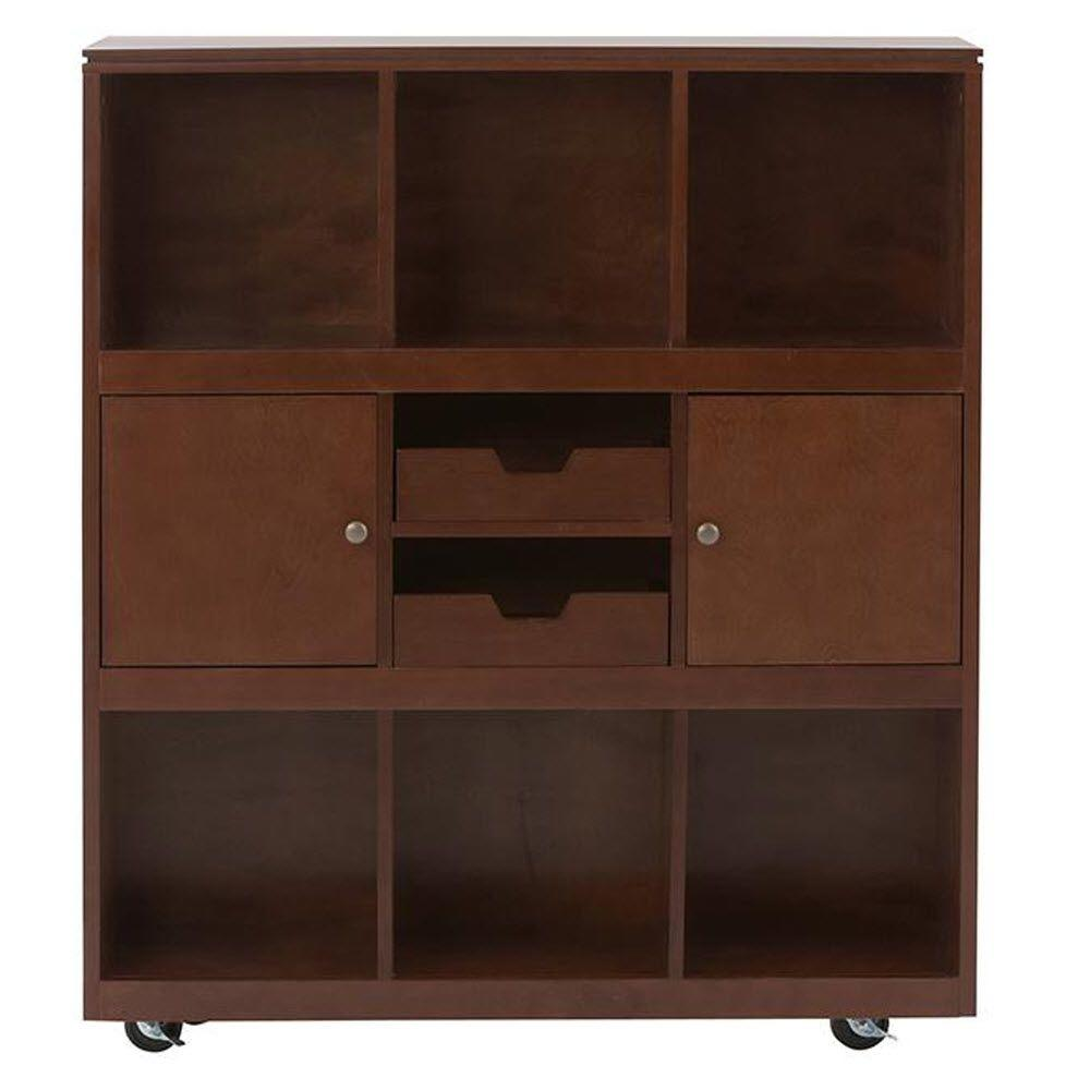 Home Decorators Collection Avery 6-Cube MDF Mobile Cart in Chestnut-2311100970 -