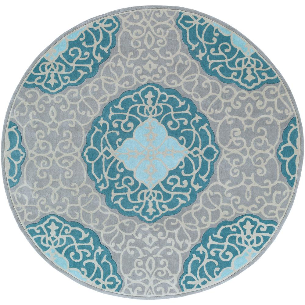 Artistic Weavers Hunson Teal 8 Ft. X 8 Ft. Round Area Rug