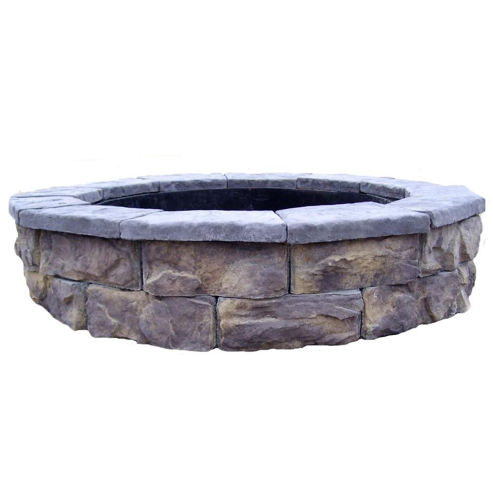 fossill stone limestone round fire pit kit shopyourway. Black Bedroom Furniture Sets. Home Design Ideas