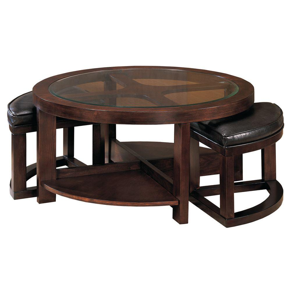 null HomeSullivan Cocktail Table with Tuck-Under Ottomans-DISCONTINUED