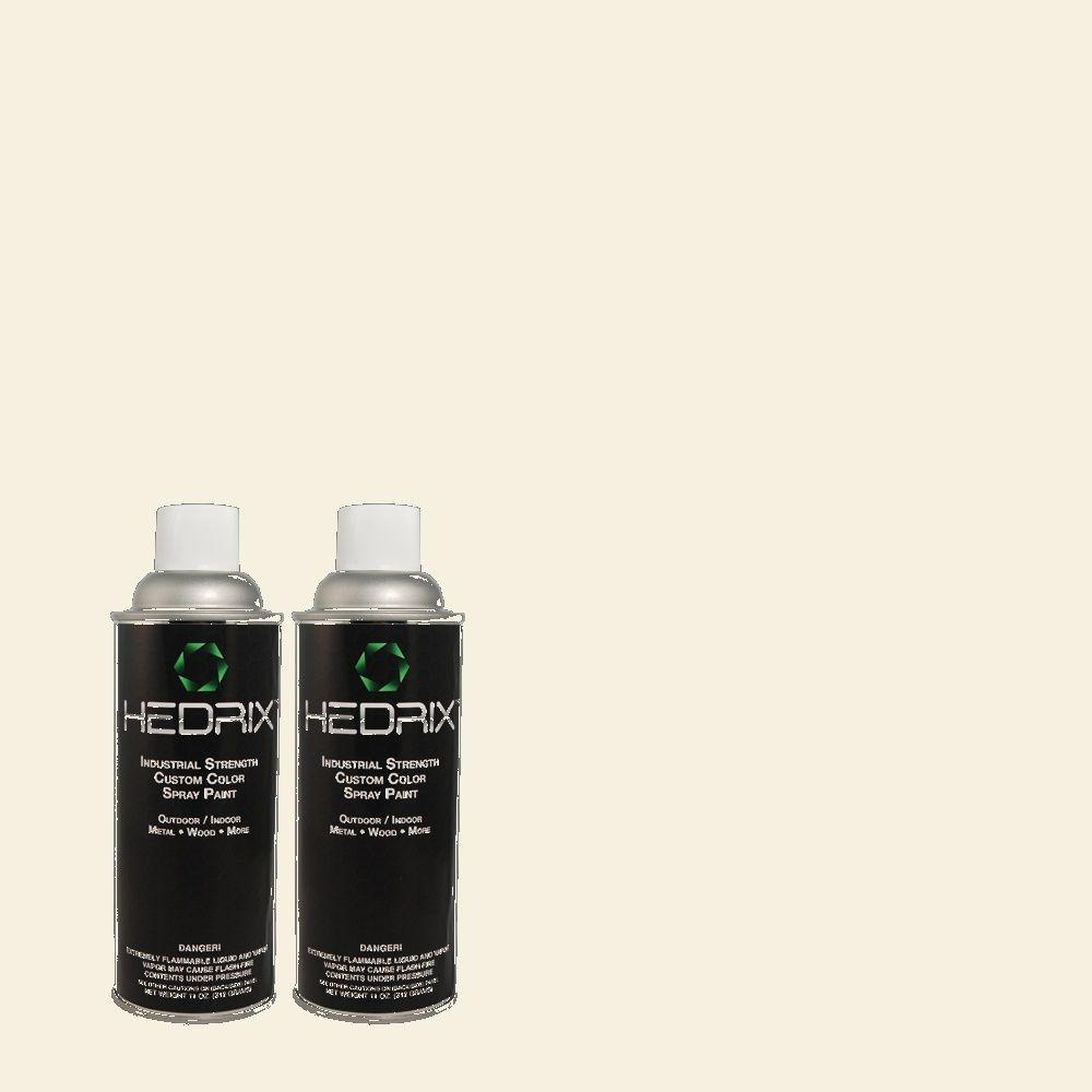 Hedrix 11 oz. Match of 750C-1 Ivory Mist Low Lustre Custom Spray Paint (2-Pack)