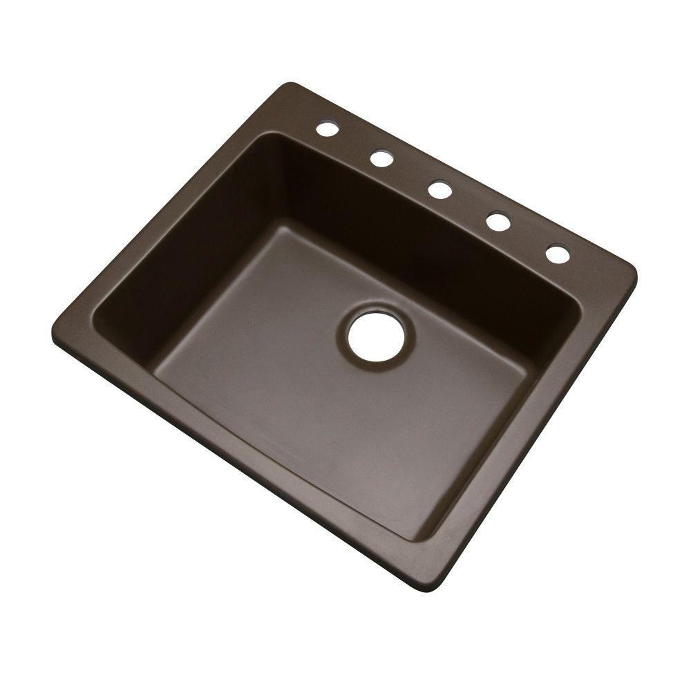 Northbrook Drop-In Composite Granite 25 in. 5-Hole Single Bowl Kitchen Sink in Mocha (Brown)